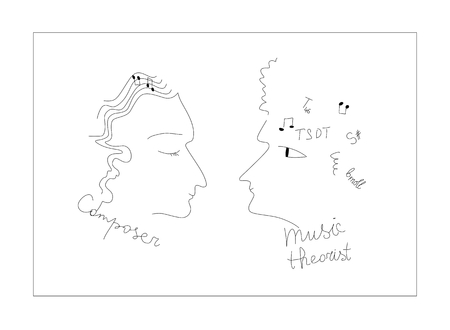 theorist: Linear drawing of composer and music theorist. Vector illustration. Illustration