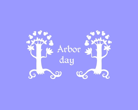 arbor: Arbor day. Card design with white tree silhouettes. Vector illustration.