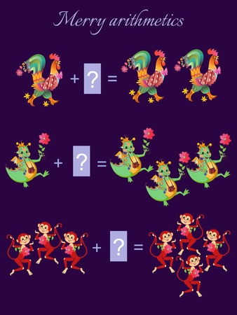 addition: Cartoon illustration of mathematical addition. Examples with colorful roosters, dragons and monkeys.