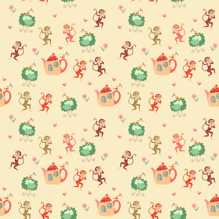 shrubs: Beautiful childish seamless pattern with monkeys, teapots, shrubs, birds, flowers and butterflies. Cute vector illustration. Illustration
