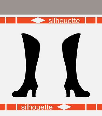 footwear: Womens boots. Beautiful silhouettes vector illustration.   Business, footwear, fashion concept.