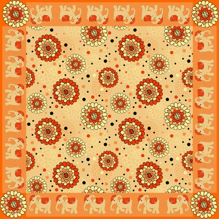 kerchief: Floral bandana print with ornamental border. Silk neck scarf with beautiful flowers and elephants. Summer kerchief square pattern design style for print on fabric. Vector illustration. Illustration