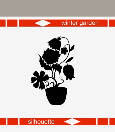 indoor bud: Beautiful vector illustration of flower silhouette