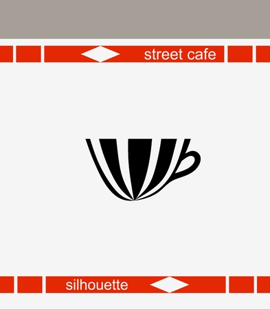 english breakfast: Street cafes, restaurants, websites. Cup silhouette.