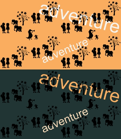 travelers: Interesting adventure - little travelers in savannah with elephants and crocodiles. Can be used for book covers, cards, elements of website design, prints.