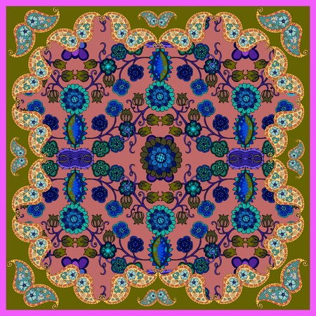 shawl: Tablecloth or shawl with flowers and paisley. Illustration