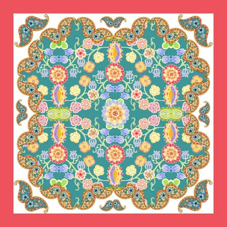neck scarf: Ethnic floral bandana print. Silk neck scarf with flowers and paisley. Kerchief square pattern design style for print on fabric. Vector illustration.