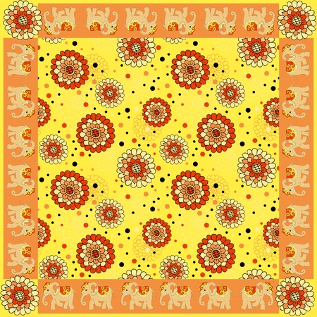 neckerchief: Floral bandana print with ornamental border. Silk neck scarf with beautiful flowers and elephants. Summer kerchief square pattern design style for print on fabric. Vector illustration. Illustration
