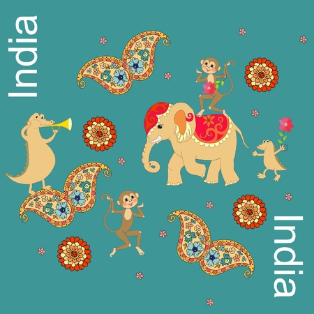 geographic: India. Beautiful geographic conceptual pattern with crocodiles, elephant, monkeys, butterflies with paisley ornament. Illustration