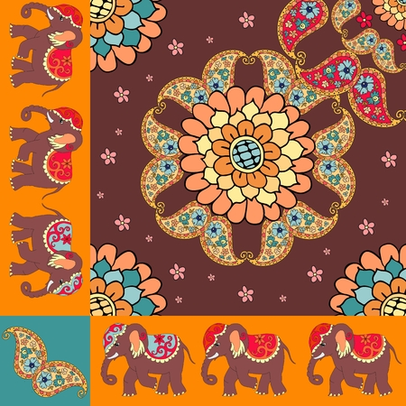 ascot: Quarter of the ethnic bandana print with ornamental border. Silk neck scarf with beautiful flowers, paisley and elephants. Summer kerchief square pattern design style for print on fabric. Illustration