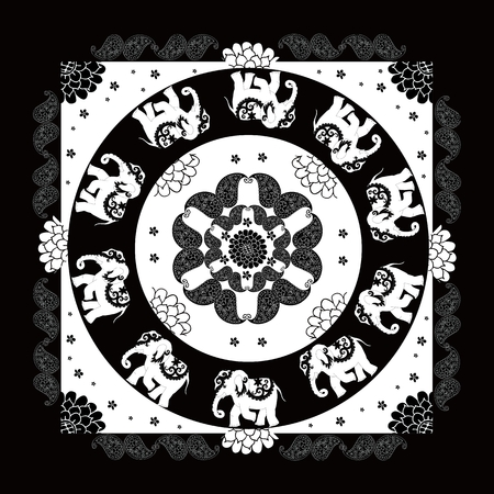 bandana: India. Black and white ethnic bandana print with beautiful flowers, paisley and elephants. Summer kerchief square pattern design style for print on fabric. Mandala.