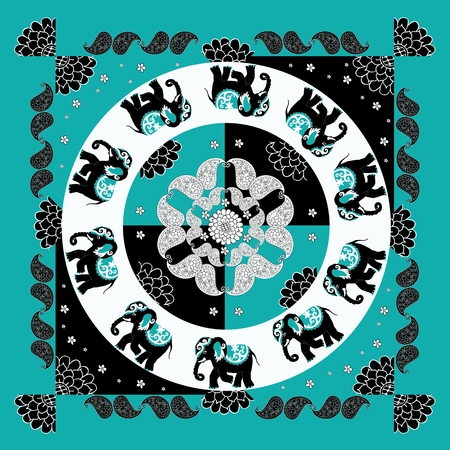 pichkari: Original indian pattern with ten elephants and paisley.  Bandana print. Silk neck scarf with beautiful flowers, paisley and elephants. Summer kerchief square pattern design style for print on fabric. Illustration