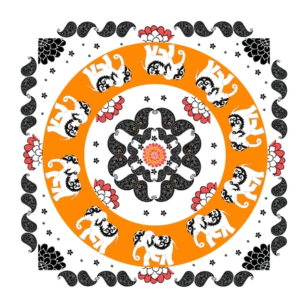 neckerchief: Original indian pattern with ten elephants and paisley. Bandana print. Silk neck scarf with beautiful flowers, paisley and elephants. Summer kerchief square pattern design style for print on fabric.