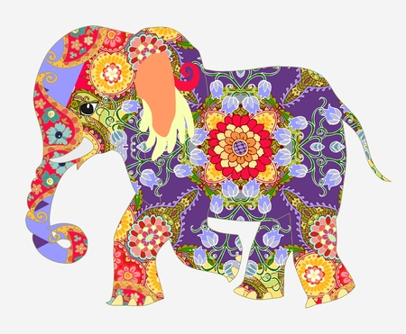 Elephant. African decorative pattern.