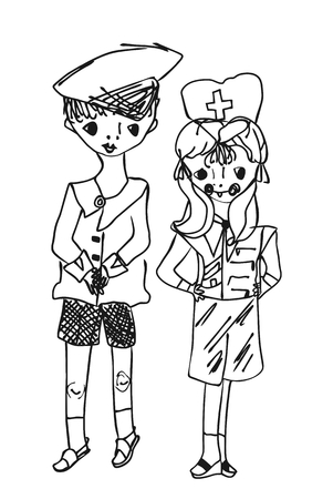 school nurse: Childish drawing cartoon boy and girl. Little captain and the little doctor. Vector illustration.