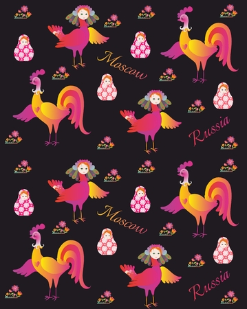 russian pattern: Russian pattern for fabric with magic bird Sirin, flowers, rooster and matryoshka.