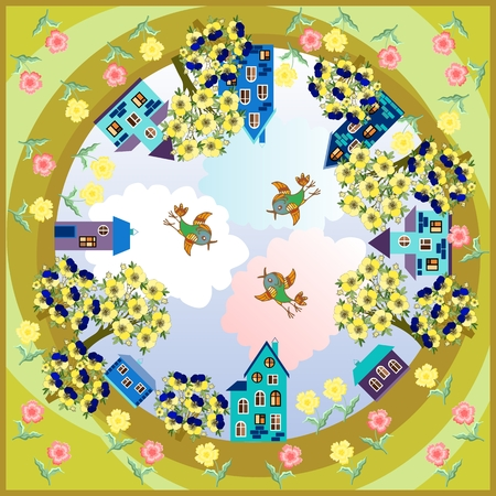 Spring day. Card with beautiful town surrounded by beautiful flowers. Bandana print or silk neck scarf. Kerchief square pattern design style for print on fabric. Vector illustration.