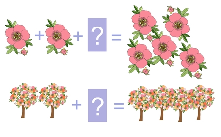niño preescolar: Juego educativo para los niños. Ilustración de dibujos animados de la suma matemática. Ejemplos con flores y árboles en flor.