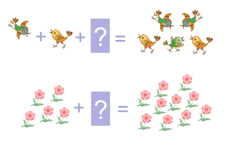 addition: Educational game for children. Cartoon illustration of mathematical addition. Examples with flowers and birds. Illustration