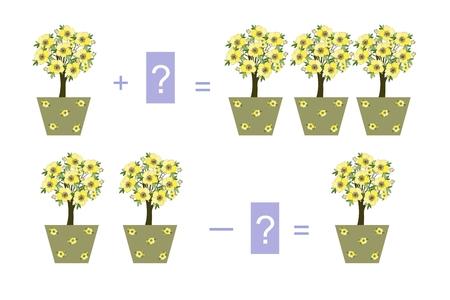 Educatief spel voor kinderen. Cartoon illustratie van wiskundige toevoeging. Voorbeelden met kamerplanten.