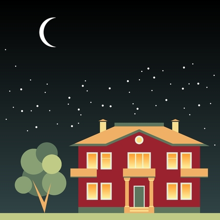 dark sky: House and tree at night on background of dark sky with stars and moon. Vector illustration.