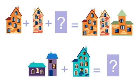 brain puzzle: Cartoon illustration of mathematical addition. Examples with buildings. Illustration