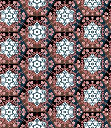 quilting: Seamless patchwork pattern from hexagons with floral ornament. Patchwork vector. Quilting design.