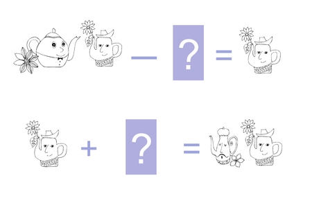 subtraction: Cartoon illustration of mathematical subtraction and addition. Examples with teapot. Educational game for children. Black and white vector illustration.