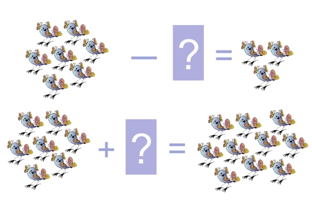 addition: Educational game for children. Cartoon illustration of mathematical addition and subtraction. Examples with  birds. Vector image.
