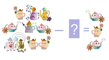 subtraction: Educational game for children. Cartoon illustration of mathematical subtraction. Examples with teapot. Colorful vector illustration.