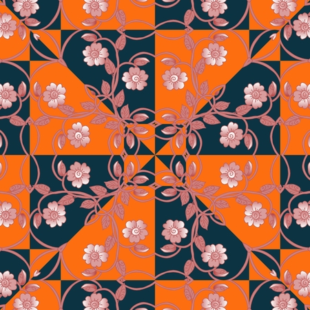 neck scarf: Floral kerchief. Bandana print or silk neck scarf with beautiful ornament from flowers. Vector illustration.