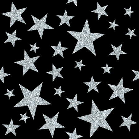 silver stars: Seamless pattern with silver stars on black background. Vector illustration.