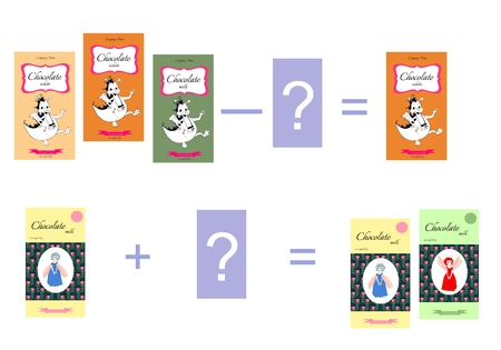 addition: Educational game for children. Cartoon illustration of mathematical addition and subtraction. Examples with chocolate. Vector image. Illustration