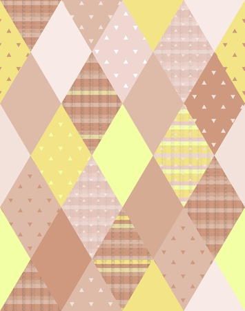 brown pattern: Vector illustration of colorful quilting. Seamless patchwork pattern.