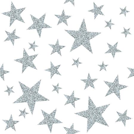 흰색 배경에 실버 스타와 함께 원활 하 게 패턴입니다. 벡터 일러스트 레이 션. 일러스트