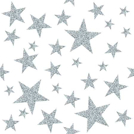 Seamless pattern with silver stars on white background. Vector illustration.