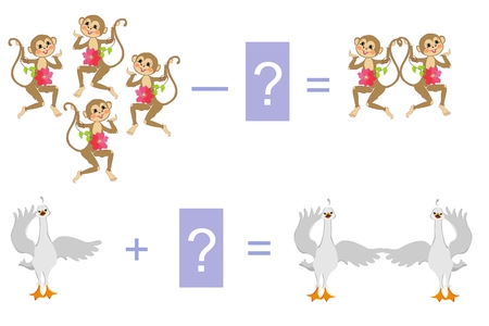 examples: Educational game for children. Cartoon illustration of mathematical addition and subtraction. Examples with cute monkeys and little swans.