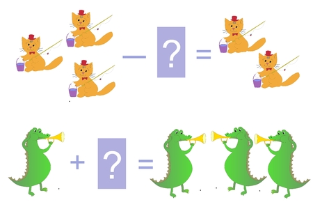 cartoon crocodile: Educational game for children. Cartoon illustration of mathematical addition and subtraction. Examples with cute cats and crocodiles.