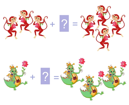 Educational game for children. Examples with cute colorful monkeys and dino. Cartoon illustration of mathematical addition. Vector image. Illustration