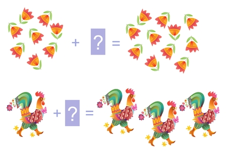 addition: Educational game for children. Examples with cute colorful roosters and flowers. Cartoon illustration of mathematical addition. Vector image. Illustration