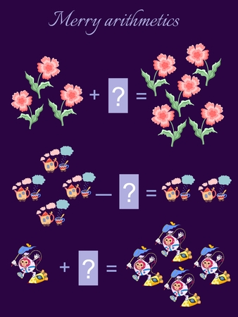 addition: Educational game for children.Cartoon illustration of mathematical addition and subtraction. Examples with cute colorful flowers, teapots, cups and monkeys astronauts.