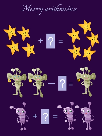 addition: Educational game for children.Cartoon illustration of mathematical addition and subtraction. Examples with cute colorful stars and aliens. Illustration