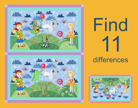 enumerate: Educational game for children. Find differences. Vector illustration. Easy editable pattern.