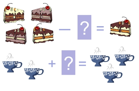 examples: Educational game for children. Cartoon illustration of mathematical addition and subtraction. Vector image. Examples with cute colorful  cakes and cups.