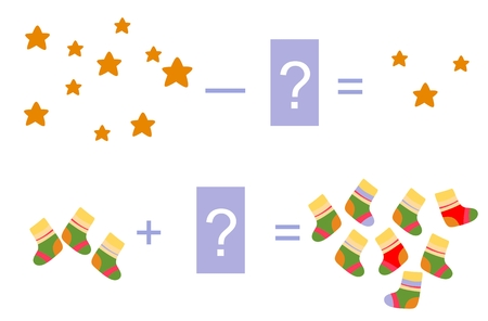 examples: Educational game for children. Cartoon illustration of mathematical addition and subtraction. Vector image. Examples with cute colorful socks and stars.