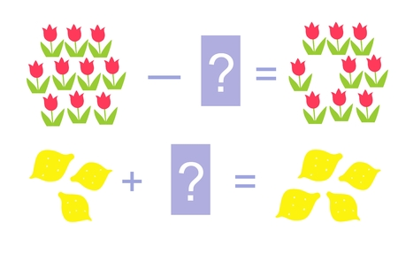addition: Educational game for children. Cartoon illustration of mathematical addition and subtraction. Vector image.  Examples with cute colorful tulips and lemons.