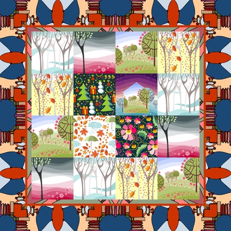 folksy: Quilt blanket. Patchwork. Four seasons - winter, spring, summer and autumn.