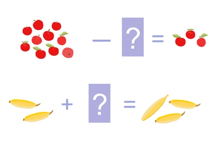 subtraction: Educational game for children. Cartoon illustration of mathematical addition and subtraction. Vector image. Examples with cute colorful  apples and bananas.
