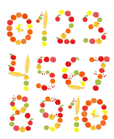 apples and oranges: Set of figures and numbers. Illustration for children. Apples, bananas, lemons, oranges and cherries. Illustration