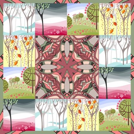 sarong: Four Seasons. Vintage bandana print.